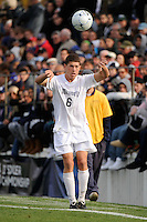 Ryan Clark (6) of the Monmouth Hawks. Dartmouth defeated Monmouth 4-0 during the first round of the 2010 NCAA Division 1 Men's Soccer Championship on the Great Lawn of Monmouth University in West Long Branch, NJ, on November 18, 2010.
