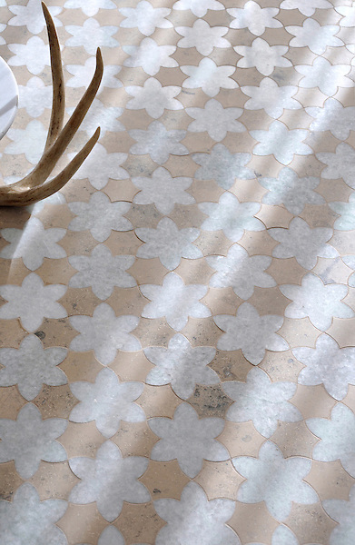 Cadiz, a handmade mosaic shown in polished Ming Green and honed Jura Grey, is part of the Miraflores Collection by Paul Schatz for New Ravenna.<br /> <br /> For pricing samples and design help, click here: http://www.newravenna.com/showrooms/