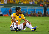 Hulk of Brazil sits on the floor after a missed chance