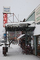 """Downtown Truckee 9"" - Commercial Row in Downtown Truckee, photographed on an early snowy morning."