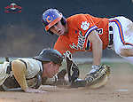 Designated hitter Tyler Krieger (3) of the Clemson Tigers is tagged out at home plate by catcher Carson Waln (4) of the Wofford College Terriers in a game on Tuesday, May 5, 2015, at Russell C. King Field in Spartanburg, South Carolina. Wofford won, 17-9. (Tom Priddy/Four Seam Images)