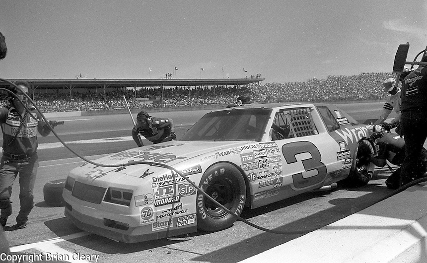 Dale Earnhardt pits pit stop #3 chevrolet monte carlo Pepsi Firecracker 400 Daytona International Speedway Daytona Beach FL July 1987 (Photo by Brian Cleary/www.bcpix.com)