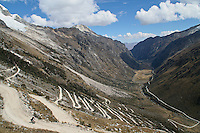 Harald Mueller descends the west slope of 16,040 ft. Punta Olimpica Pass in Peru's Cordillera Blanca, one of the highest passes in the world - Huascaran National Park - South America