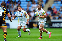 Luke Cowan-Dickie of Exeter Chiefs in possession. Aviva Premiership match, between Wasps and Exeter Chiefs on September 4, 2016 at the Ricoh Arena in Coventry, England. Photo by: Patrick Khachfe / JMP