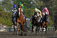 Kent Desormeaux and Dullahan, trained by Dale Romans, take the G1 Toyota Bluegrass Stakes at Keeneland Race Course in Lexington, Kentucky on Saurday April, 14, 2012.   Eric Patterson/Eclipse Sportswire