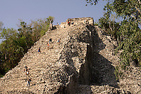 Tourists climbing the Nohoch Mul pyramid at the Mayan ruins of Coba, Quintana Roo, Mexico. This is said to be the tallest Mayan structure on the Yucatan Peninsula.