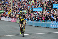 Picture by Alex Broadway/SWpix.com - 01/05/2016 - Cycling - Tour de Yorkshire, Stage 3: Middlesbrough to Scarborough - Yorkshire, England - Thomas Voeckler of Direct Energie celebrates as he crosses the line to win Stage 3 and take the overall tour win.