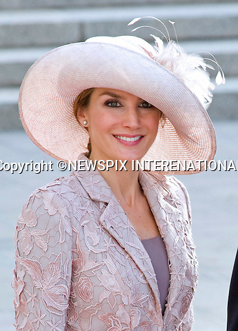 """ROYAL HAT PARADE - CROWN PRINCESS LETIZIA OF SPAIN.The Religious Wedding of HRH the Hereditary Grand Duke and Countess Stéphanie de Lannoy at the Cathedral of Our lady of Luxembourg, provided an opportune moment for the Royal Ladies to put on a hat show and they did not disappoint with their various styles, Luxembourg_20-10-2012.Mandatory credit photo: ©Dias/NEWSPIX INTERNATIONAL..(Failure to credit will incur a surcharge of 100% of reproduction fees)..                **ALL FEES PAYABLE TO: """"NEWSPIX INTERNATIONAL""""**..IMMEDIATE CONFIRMATION OF USAGE REQUIRED:.Newspix International, 31 Chinnery Hill, Bishop's Stortford, ENGLAND CM23 3PS.Tel:+441279 324672  ; Fax: +441279656877.Mobile:  07775681153.e-mail: info@newspixinternational.co.uk"""