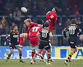 A high ball pops loose - London Wasps RFC vs Saracens RFC - Aviva Premiership Rugby at Adams Park, Wycombe Wanderers FC - 12/02/12 - MANDATORY CREDIT: Ray Lawrence/TGSPHOTO - Self billing applies where appropriate - 0845 094 6026 - contact@tgsphoto.co.uk - NO UNPAID USE.