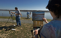 A group of artists paint their interpretations at Hoover Reservoir