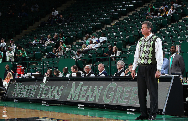 Denton, TX - NOVEMBER 12: Mike Petersen head coach of the North Texas Mean Green looks on during the game against Texas State Bobcats at the Super Pit in Denton on November 12, 2012 in Denton, Texas. (Photo by Rick Yeatts)