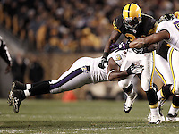 PITTSBURGH, PA - NOVEMBER 06: Rashard Mendenhall #34 of the Pittsburgh Steelers runs with the ball while attempting to evade a tackle by the Baltimore Ravens defense during the game on November 6, 2011 at Heinz Field in Pittsburgh, Pennsylvania.  (Photo by Jared Wickerham/Getty Images)