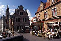 outdoor café, Belgium, Brugge, Bruges, West-Vlaanderen, Europe, Outdoor café along the canal in Bruges.