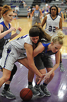 NWA Democrat-Gazette/ANDY SHUPE<br /> Rogers guard Kelsey Richmond (right) and Fayetteville guard Sasha Goforth (2) reach for a loose ball Friday, Feb. 10, 2017, during the second half of play in Bulldog Arena. Visit nwadg.com/photos to see more photographs from the game.