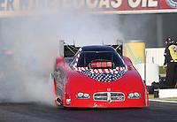 Feb. 14, 2013; Pomona, CA, USA; NHRA funny car driver Gary Densham during qualifying for the Winternationals at Auto Club Raceway at Pomona.. Mandatory Credit: Mark J. Rebilas-