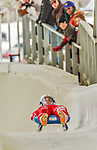 5 December 2014: Emanuel Rieder, sliding for Italy, crosses the finish line on his first run, ending the day with a 12th place finish and a combined 2-run time of 1:43.666 in the Men's Competition at the Viessmann Luge World Cup, at the Olympic Sports Track in Lake Placid, New York, USA. Mandatory Credit: Ed Wolfstein Photo *** RAW (NEF) Image File Available ***