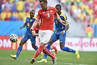 FUSSBALL WM 2014  VORRUNDE    Gruppe D     Schweiz - Ecuador                      15.06.2014 Haris Seferovic (Schweiz) erzielt das Tor zum 2:1