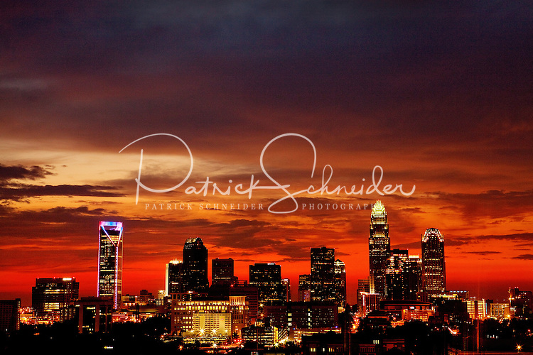 A blood-red sky glows over Charlotte, NC, after severe storms passed through the area in July 2011. Patrick Schneider Photography has an extensive collection of images of current Charlotte skyline images with a wide range of perspectives on the city. Call or email for assistance.