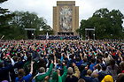 Sept. 20, 2012; Notre Dame students cheer during the Michigan pep rally on the Library Quad in front of Touchdown Jesus. Photo by Barbara Johnston/University of Notre Dame