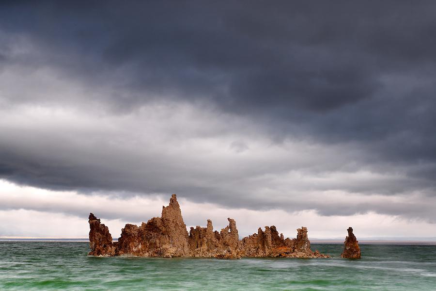 Tufta rock formations in stormy Mono Lake, South Tufta, eastern Sierras, Mono Basin National Forest Scenic Area, near Lee Vining, California, USA