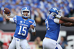 Quarterback Stephen Johnson #15 of the Kentucky Wildcats throws a pass down field during the second half of the TaxSlayer Bowl against the Georgia Tech Yellow Jackets at EverBank Field on Saturday, December 31, 2016 in Jacksonville, Florida. Photo by Michael Reaves   Staff.