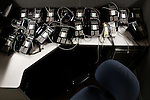 A pile of unused desk phones on the special investigations floor of the Sacramento Police Department which was emptied due to budget cuts, and its detectives reassigned to patrol units, October 26, 2012 in Sacramento, Calif.