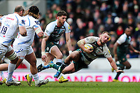 Lachlan McCaffrey of Leicester Tigers is tackled to ground. Aviva Premiership match, between Leicester Tigers and Exeter Chiefs on March 6, 2016 at Welford Road in Leicester, England. Photo by: Patrick Khachfe / JMP