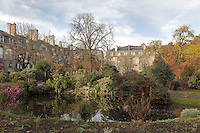 Gardens and pond in the Place Gambetta, Bordeaux, Aquitaine, France. The square was designed in the 18th century by architect Andre Portier. Picture by Manuel Cohen