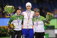 SCHAATSEN: HEERENVEEN: IJsstadion Thialf, 29-12-2012, Seizoen 2012-2013, KPN NK allround, podium 1500m Dames, Ireen Wüst, Jorien ter Mors, Linda de Vries, ©foto Martin de Jong