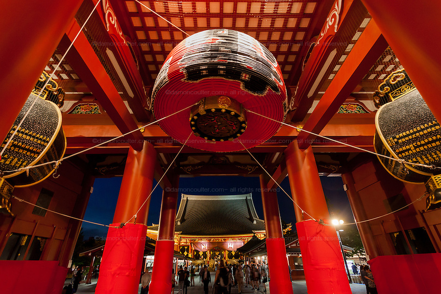 Lanterns in the Kaminarimon Gate at the entrance to Senso Ji  Temple in Asakusa, Tokyo, Japan. Friday May 13th 2016