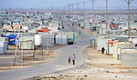 The Zaatari refugee camp near Mafraq, Jordan. Established in 2012 as Syrian refugees poured across the border, the camp held more than 80,000 refugees by early 2015, and was rapidly evolving into a permanent settlement. The ACT Alliance provides a variety of services to refugees living in the camp.