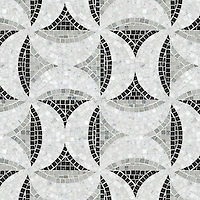 Moonriver, a hand-cut stone mosaic, shown in polished Carrara, Nero Marquina, and Kay's Green.