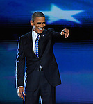 President Barack Obama celebrates after accepting his party's nomination during the Democratic National Convention in Charlotte, North Carolina on Thursday, September 06, 2012.