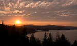 Idaho,North,Lake Coeur d'Alene, Arrow Point. Sunset overlooking Arrow Point.