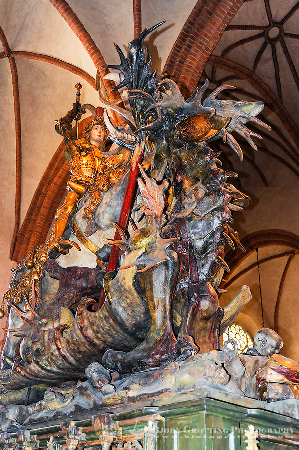 Sweden, Stockholm. Storkyrkan is the oldest church in Gamla Stan. St. George and the Dragon