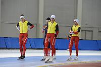 SCHAATSEN: SALT LAKE CITY: Utah Olympic Oval, 12-11-2013, Essent ISU World Cup, training, Ferre Spruyt (BEL), Ewen Fernandez (FRA), Bart Swings (BEL), Wannes van Praet (BEL), ©foto Martin de Jong