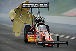 Jun. 18, 2011; Bristol, TN, USA: NHRA top fuel dragster driver Spencer Massey during qualifying for the Thunder Valley Nationals at Bristol Dragway. Mandatory Credit: Mark J. Rebilas-