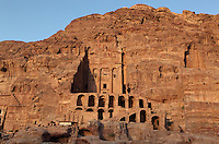 Urn tomb, 1st century AD, Petra, Ma'an, Jordan. This Royal tomb was carved by the Nabateans in the face of Jabal al-Khubtha, the mountain overlooking Petra on the East. The Urn tomb was probably built c. 70 AD for King Malichos II and was converted to a Christan church in 446-7 AD. It is also known as 'The Court' as it was used as a courthouse in Roman times. Petra was the capital and royal city of the Nabateans, Arabic desert nomads. Picture by Manuel Cohen