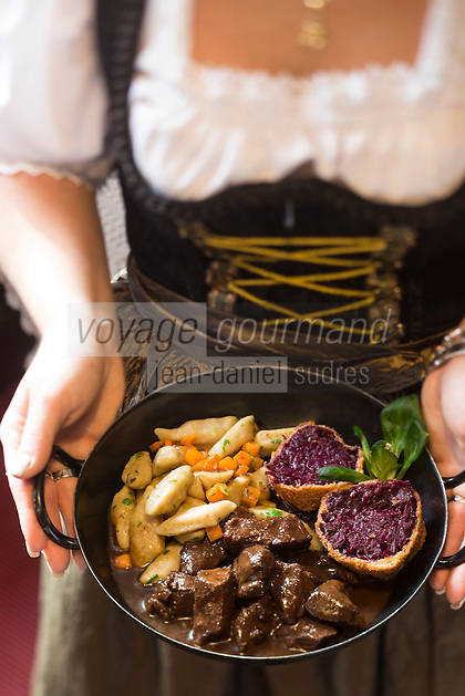 Europe, Autriche, Tyrol (Land), Tyrol du Nord, Hall en Tyrol:  Goulash de cerf  et quenelle  de chou rouge, gnocchi aux châtaignes , recette Gartenhotel Maria Theresia // Europe, Austria, Tyrol (state), Hall in Tirol: Venison goulash and red cabbage dumplings , chestnuts gnocchi  , recipe  Gartenhotel Maria Theresia