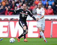 FUSSBALL   1. BUNDESLIGA  SAISON 2011/2012   34. Spieltag 1. FC Koeln - FC Bayern Muenchen        05.05.2012 Franck Ribery (li, FC Bayern Muenchen) gegen Miso Brecko (1. FC Koeln)