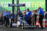 May 18, 2012; Topeka, KS, USA: NHRA crew members for top fuel dragster driver Brandon Bernstein during qualifying for the Summer Nationals at Heartland Park Topeka. Mandatory Credit: Mark J. Rebilas-