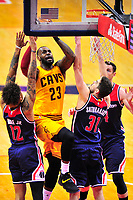 Lebron James of the Wizards powers his way to the basket against three Wizards defenders. Cleveland Cavaliers defeated Washington Wizards in OT 140-135 during a game at the Verizon Center in Washington, D.C. on Monday, February 6, 2017.  Alan P. Santos/DC Sports Box