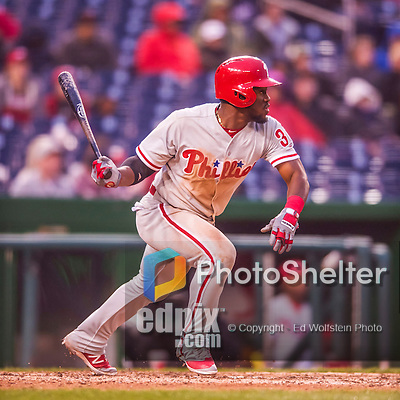 28 April 2016: Philadelphia Phillies outfielder Odubel Herrera leads off the 9th inning with a single during game action against the Washington Nationals at Nationals Park in Washington, DC. The Phillies shut out the Nationals 3-0 to sweep their mid-week, 3-game series. Mandatory Credit: Ed Wolfstein Photo *** RAW (NEF) Image File Available ***