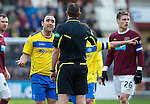 Hearts v St Johnstone...05.02.12.. Scottish Cup 5th Round.Lee Croft pleads with ref Craig Thomson.Picture by Graeme Hart..Copyright Perthshire Picture Agency.Tel: 01738 623350  Mobile: 07990 594431