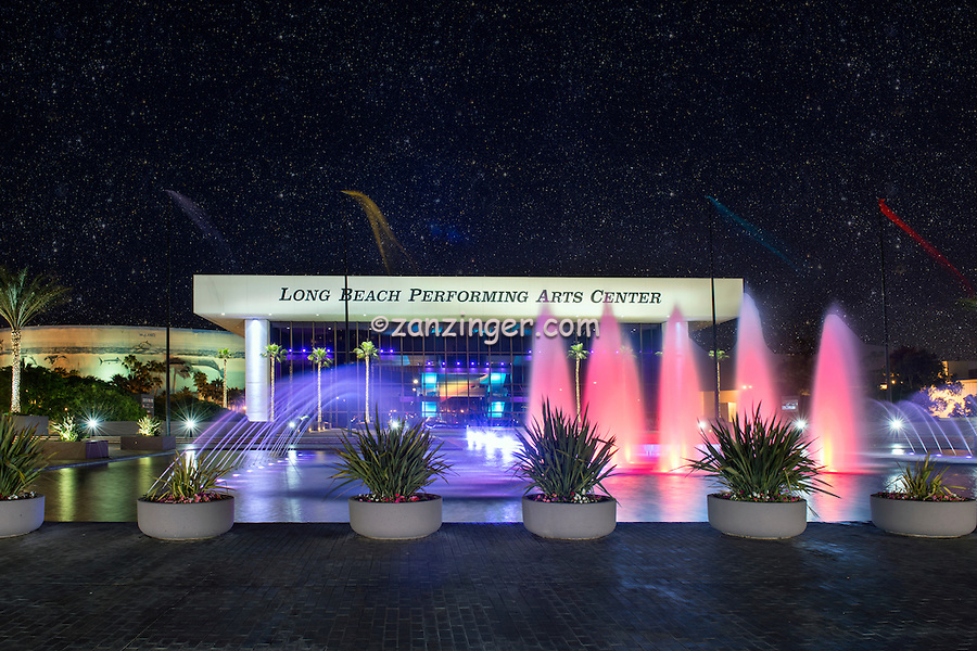 Long Beach, CA, City, Cityscape, Skyline, Architectural, Building, Southern California, USA, Homeland Cultural Center, Dusk, Night, Lit.Beautiful, Rainbow Colors, Reflecting Pool