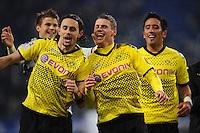 FUSSBALL   1. BUNDESLIGA   SAISON 2011/2012   18. SPIELTAG Hamburger SV - Borussia Dortmund     22.01.2012 Schlussjubel: Neven Subotic, Lukasz Piszczek und Lucas Barrios (v.l., alle Borussia Dortmund)