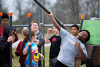 NWA Democrat-Gazette/JASON IVESTER<br /> Ben Holcomb, Kirksey Middle School sixth-grader, sends his &quot;javelin&quot; through the air Thursday, March 16, 2017, during Greek Day at the Rogers school. Sixth-graders have been studying ancient Greece in their World History class and competed in both athletic and intellectual competitions during the day in the Kirksey Olympics. Gold, silver and bronze awards will be handed out today (FRIDAY) from the events.