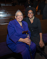 NEW YORK, NY - APRIL 3: Dr. Phyllis Harrison-Ross, Chinita Pointer pictured as David N. Dinkins, 106th Mayor of the City of New York, receives the Dr. Phyllis Harrison-Ross Public Service Award for a lifetime of public service at the New York Society of Ethical Culture in New York City on April 3, 2014. Credit: Margot Jordan/MediaPunch