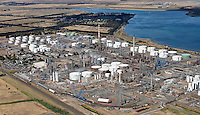 Oil refinery, Corio Bay Geelong from the air.<br />