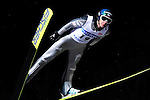 DIMITRY IPATOV of Russia soars through the air during the FIS World Cup Ski Jumping in Sapporo, northern Japan in February, 2008.